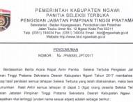 Pengumuman Akhir Seleksi Pimpinan Tinggi Pratama Sekda Ngawi