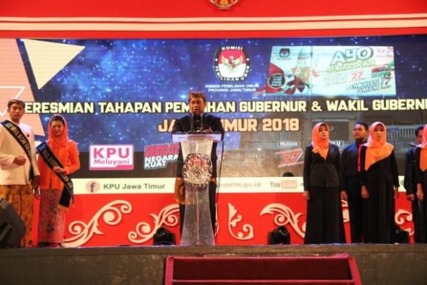 KPU Ngawi Hadiri Peresmian Tahapan Pemilihan Gubernur dan Wakil Gubernur Jawa Timur 2018