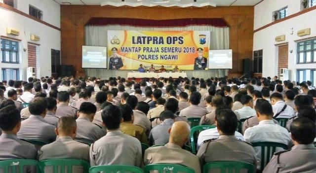 673 Personel Ikuti Latpra Ops Mantap Praja Semeru 2018 Polres Ngawi, Gedung Eka Kapti, Rabu (07/02). Foto-SatIntelkam Ngawi