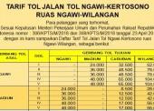 Tarif Terbaru Tol Ngawi-Wilangan Mulai 1 Mei 2018