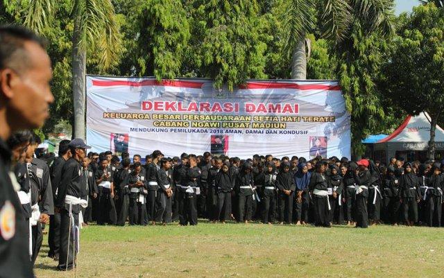 Deklarasi Damai Keluarga Besar PSHT Ngawi jelang Pilkada 2018, Minggu (13/05). Foto-Istimewa/Dok. Pemkab Ngawi