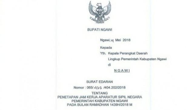 Surat Edaran Bupati Ngawi Tentang Penetapan Jam Kerja Pegawai Pemerintah di Bulan Ramadhan