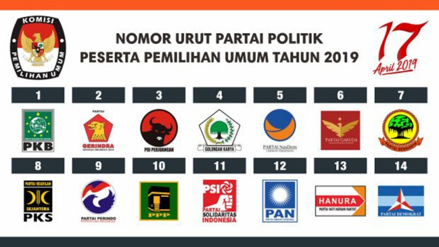 Nomor Urut Partai Politik Peserta Pemilu 2019. Foto-Istimewa
