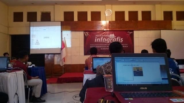 Peserta Pelatihan Infografis Nampak Antusias dan semangat di Hari Kedua pelatihan, Rabu (11/07/2018). Foto-KampoengNgawi.com/fri