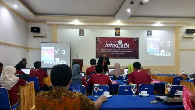 Pelatihan Infografis Disparpora Ngawi, RM Notosuman Watualang, Selasa (10/07/2018). Foto-KampoengNgawi.com/Alfa
