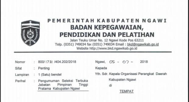BKPP Ngawi Umumkan Seleksi Terbuka 3 Jabatan Kepala Dinas