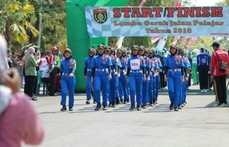 Peserta Lomba Gerak Jalan Pelajar Tahun 2018.  Foto-IG/tagrisa_kopasti