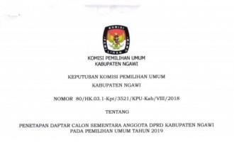 Inilah Daftar Calon Sementara Anggota DPRD Ngawi pada Pemilu 2019
