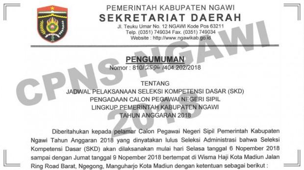 Jadwal Seleksi Kemampuan Dasar CPNS Ngawi Mulai 6 November 2018