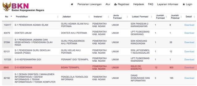 Formasi Bidan Terampil di Kabupaten Ngawi Menjadi Incaran Tertinggi CPNS 2018. Foto-Istimewa