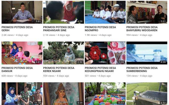 Video-video yang diunggah oleh channel DPMD Kab. Ngawi untuk diberikan penilaian terbuka. Foto-Capture Youtube