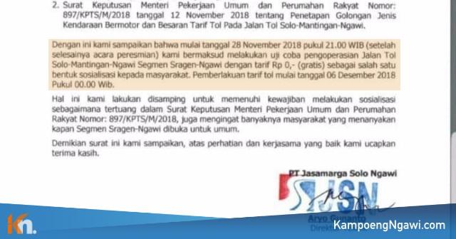 Surat Pemberitahuan Uji Coba Pengoperasian Jalan Tol Ngawi-Sragen secara Gratis. Foto-Istimewa
