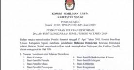 KPU Ngawi Membuka Pendaftaran Relawan Demokrasi Pemilu 2019