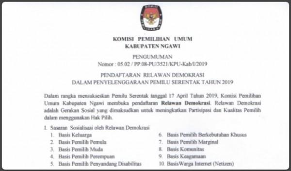 Pengumuman Pendaftaran Relawan Demokrasi KPU Ngawi. Foto-Dok. KPU Ngawi