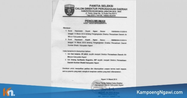 Inilah Dua Direktur Baru Perusahaan Daerah di Kabupaten Ngawi Masa Jabatan 2018-2022