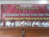 Ratusan Guru dan Staf Lingkup Dinas Pendidikan Ngawi Menerima SK Kenaikan Pangkat