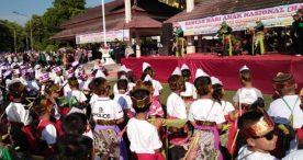 Ribuan Peserta Menari Jaranan dalam Gebyar Hari Anak Nasional 2019 Kabupaten Ngawi