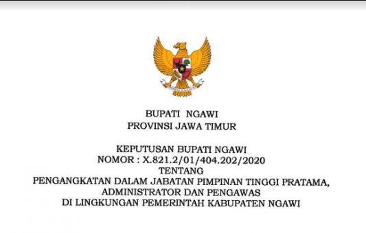 Inilah Beberapa Kepala Dinas Baru di Pemda Ngawi yang Bertugas Mulai 2 Januari 2020