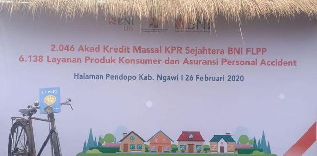 BNI Gelar Akad Kredit Massal KPR Sejahtera BNI FLPP 2020 di Pendopo Wedya Graha Ngawi