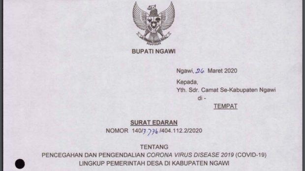 Bupati Ngawi Meminta Seluruh Kepala Desa Membentuk Relawan Tanggap COVID-19