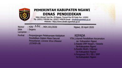 Photo of Dindik Ngawi Informasikan Perpanjangan Masa Belajar Di Rumah Sampai 1 Juni 2020