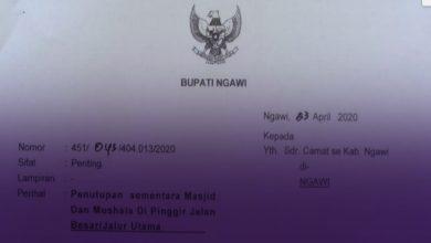 Photo of Bupati Ngawi Keluarkan Surat Terkait Penutupan Sementara Masjid dan Musala  di Pinggir Jalan Besar atau Jalur Utama