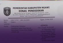 Photo of Edaran Terbaru Dinas Pendidikan Ngawi, Guru Mulai Bekerja Kembali 2 Juni, Siswa Masih Belajar Dari Rumah sampai 20 Juni