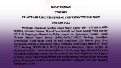 Photo of Dinkes Sampaikan Biaya Rapid Test di Pos Pantau Perbatasan Ngawi Rp 175 Ribu